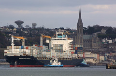 Inbound passing Cobh. (MSGS4) Tags: ireland alex ship cathedral cork container tugs cobh reefer maersk gerryosullivan maersknolanville