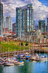 Downtown (Clayton Perry Photoworks) Tags: winter skyline vancouver boats falsecreek hdr granvillestreetbridge