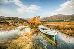 Lake Beauty (Nejdet Duzen) Tags: trip travel lake reflection turkey reeds boat trkiye sandal gl yansma turkei seyahat manisa sazlk glmarmara ilobsterit