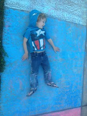 Chalk monster ([ the black star ]) Tags: boy 3 silly chalk kid crazy ground sidewalk kingston messy rolling preschooler uploaded:by=flickrmobile flickriosapp:filter=nofilter