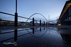 Puddle (night watch1) Tags: bridge light eye pool last river evening piano rail tyne pitcher leval reflectionpuddle sagestreet