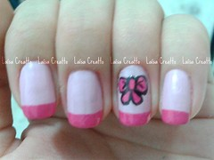 Laço (laísa creatto) Tags: nail rosa unha laço francesinha