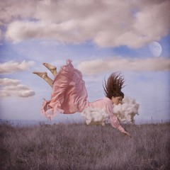 Heaven on Earth (Veronica_Garcia1) Tags: pink blue sky moon nature clouds hair jump hill floating levitation falling float brookeshaden texturebylesbrumes