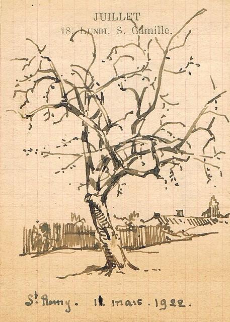 Arbre (St-Rémy, 12 mars 1922). Emile Deshayes, dessinateur liégeois. Liège dessin