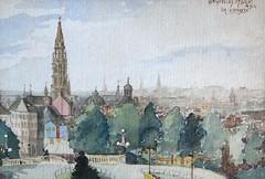 Bruxelles, vue du Mont des Arts (27/07/1914). Dessin Belgique. Emile Deshayes, dessinateur liégeois