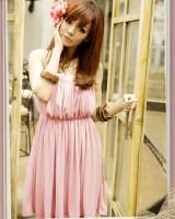 219052细肩高腰澎感束腰连衣裙-粉色-(上海日韓女裝-www.ef1688.com)