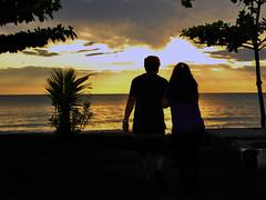 Älskande i solnedgången