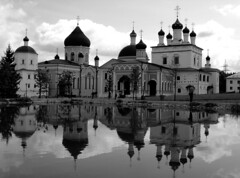 renovation of faith? (Marina from Moscow (slowly back)) Tags: blackandwhite cathedral waterreflections orthodoxchurch absoluteblackandwhite thegoldenphoenix cornersofrussia reflectionruralrussianaturecornersofrussia