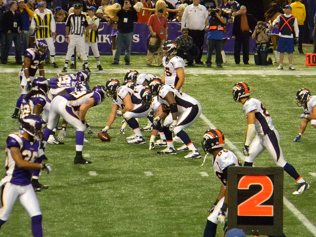 Vikings lined up for a goal line stand