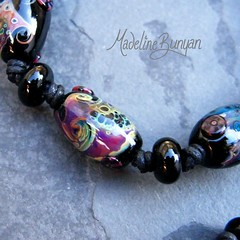 """Black and Muted Rainbow Beads Lampwork Bead Bracelet on cord • <a style=""""font-size:0.8em;"""" href=""""https://www.flickr.com/photos/37516896@N05/6499726593/"""" target=""""_blank"""">View on Flickr</a>"""