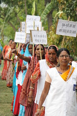 Women participating in a sweep campaign before local elections India's Bihar state