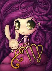 Virgo RevistaTU (Anita Mejia) Tags: bunny illustration magazine greek purple conejo revista zodiac tu horoscope virgo violeta ilustracion morado griega horoscopo chocolatita anitamejia