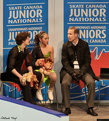 Baay & Wolfe in the Kiss & Cry (Melanie Heaney) Tags: sports action coaching figureskating icedance kissandcry 2011canadians courtneybaay drewwolfe
