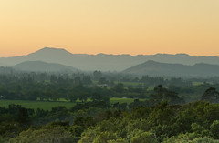 Napa Valley in Twilight - [EXPLORED] (andreaskoeberl) Tags: california trees sunset mountains green nature northerncalifornia yellow landscape twilight nikon wine hill fromabove valley napavalley napa tele 55200 mountainridge exposureblending nikon55200 d7000 nikond7000 andreaskoeberl