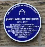 Photo of Joseph William Thornton blue plaque