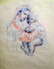 Study - Raphael: Madonna Della Sedia (M. Buchanan) Tags: life portrait people italy canada paris color colour art pencil paper design sketch etching europe artist child cross drawing muscle montreal character madonna mary letters jesus gothic sketching mother icon canadian illuminated anatomy figure font letter draw della raphael figures etch sedia hatching crosshatching lifelike nocolor nocolour modona