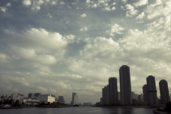 Tokyo cityscape with river,Tsukushima,Tokyo (flaminghead Park) Tags: sky japan horizontal skyline architecture skyscraper river outdoors photography tokyo cityscape waterfront citylife wideangle nopeople illuminated japaneseculture scenics tokyoprefecture capitalcities traveldestinations colorimage buildingexterior