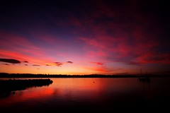 Sunset (tigerricky13) Tags: nightphotography sunset water clouds colours lewisham 7d tasmania colourful hobart 888