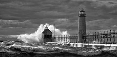 Nature's Fury (Steven White Photographic Art) Tags: blackandwhite bw lighthouse storm art monochrome canon landscape ir pier artistic fineart lakemichigan greatlakes infrared 5d fineartphotography grandhaven digitalinfrared convertedinfraredcamera blackandwhitedigitalinfrared