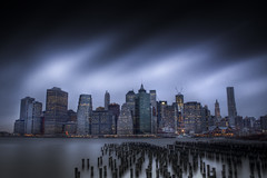 Last Light (Tim Drivas) Tags: park city nyc newyorkcity longexposure bridge newyork skyline architecture brooklyn clouds downtown cityscape skyscrapers dusk manhattan piers citylights eastriver wtc gothamist hdr brooklynbridgepark