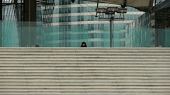 2012-01-01 En Attendant, La Dfense, Paris (MedEighty) Tags: paris france building monument glass architecture modern stairs square person waiting arch steps january cube janvier defense attendant hypercube ladfense 2012 dfense grandearche escaliers medeighty