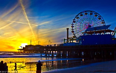a Cross in the sunset, photographed twice from the Santa Monica Pier!!! (Explored # 273 1.05.12) ( In 2 Making Images | L.A.) Tags: california longexposure blue reflection beach water clouds eos beachbirds santamonicapier digitalphotography ilovela ferryswheel lightsshow savedbythedeltemeuncensoredgrou top20la discoverlosangeles canonrebelt2i albertvalles hotbluesunset acrossinthesunset