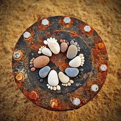 United Colours (iain blake) Tags: wood feet beach rock stone circle paw toes steps footprints pebbles pebble step paws yingyang footprint pawprint