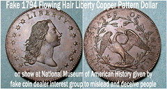 Fake 1794 Flowing Hair Liberty Copper Pattern dollar on display at National Museum of American History (Rare Historic Silver Dollar) Tags: silver hair liberty dollar flowing 1794