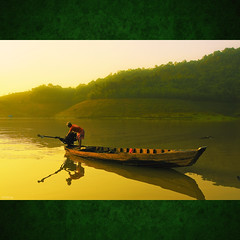 Morning on lake Da Mi - [ EXPLORED ] (-clicking-) Tags: life morning people mountain lake reflection water yellow sunrise landscape dawn golden boat fisherman asia waves peace floating peaceful vietnam colorphotoaward bestcapturesaoi elitegalleryaoi hami