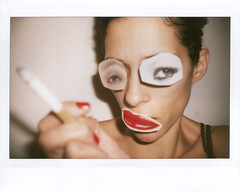 Vogue eyes - Serie #2 (Jordane_YARDEN) Tags: red portrait selfportrait face mouth magazine polaroid eyes vogue nails katemoss sticking dadaism instax210