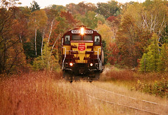 Old 14 Road (view2share) Tags: 2001 autumn fall wisconsin october branch lastday era end local sooline ac soo somber regional rebuild ending rebuilt 10mph geep switching endofanera wisconsincentral october2001 emd exempt gp7 branchline algomacentral fallenflag october82001 regionalrailroad chopnose wc1502 barronsub chopnosed