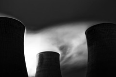 Drifting (Boyd Hunt) Tags: chimney sky blackandwhite bw night dark fire smoke bricks towers steam pollution electricity coal powerstation michaelkenna ratcliffeonsoar