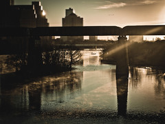 Process of Illumination (mynamesdonny) Tags: bridge light sun mist birds sunrise austin landscape fisherman downtown texas ducks olympus townlake rays smokeonwater ladybirdlake epl1 ourdailychallenge odc3