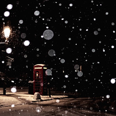 It's For You (Andrew Lockie) Tags: winter red england snow square snowflakes box telephone snowing chipping campden