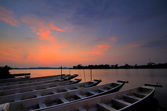The nine boats at dawn (Shutter wide shut) Tags: sunrise landscape boats dawn singapore kayak peace canoes serenity hdr anewday lowerseletarreservoir canoneos7d