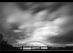 Heavy Skies..... (Chrisconphoto) Tags: longexposure blackandwhite bw movement mood le runcorn widnes goodlight runcornbridge weldingglass
