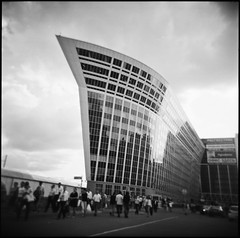 (Arina Borevich) Tags: city summer people bw building film architecture square outside photography holga lomo lomography russia moscow toycamera strangers somebody holga120cfn filmphotography