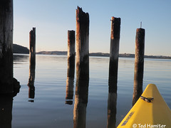 The old Benicia ferry terminal (thamiter) Tags: california reflection water northerncalifornia boat kayak january estuary sanfranciscobayarea bayarea seakayak pointandshoot eastbay pilings benicia solano ferryterminal 2012 necky looksha carquinezstrait shotfromakayak olympusstylustough6000 sportlv neckylookshasportlv