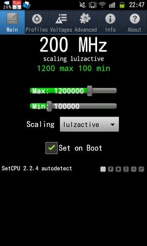 SetCPU on GALAXY S II