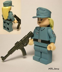 "Luftwaffe ""Flakwaffenhelferin"" WWII LEGO (MR. Jens) Tags: world two germany soldier war paint lego painted wwii 1940 45 german figure ww2 custom 18 36 stg 42 1941 44 1939 lw flak soldat 43 luftwaffe stg44"