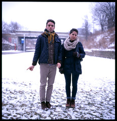 joanna and aleks (Alex Hoxie) Tags: winter film rolleiflex fuji cut detroit slide provia detriot 400x dequindre