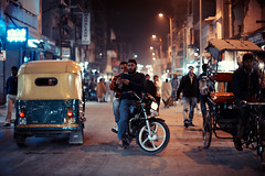 Where Are We Going? (Jon Siegel) Tags: street india men night lost 50mm lights nikon delhi motorcycle nikkor dudes bikers f12 nikkor50mmf12 nikkor50mmf12ais d700 ithinkwerelost dustyevening