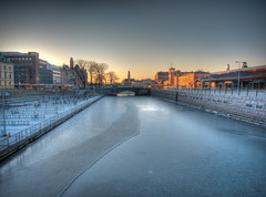 A Final Look (Rutger Blom) Tags: city winter sun cold ice water frozen afternoon sweden malm vatten hdr channel malmo centralstation canonpowershots100 norravallgatan 5226mm