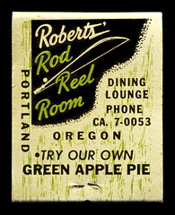 Try Our Own Green Apple Pie (Curtis Gregory Perry) Tags: our black green apple oregon dark portland pie book fishing nikon phone background room lounge pole rod match dining roberts try matches own reel matchbook d300            ca70053