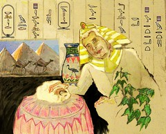 The Pharoh and His Cat (CrystalRobot) Tags: portrait art cat ancient drawing egypt pharoh hieroglyphic egytptian jkpp juliakayportraitparty crystalrobot