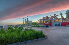 Pink Clouds and Green Grass (maestro17ca) Tags: longexposure nightphotography pink sunset architecture clouds twilight britishcolumbia quay boardwalk grasses fraserriver hdr newwestminster landscapephotography tokina1116mm nikond7000