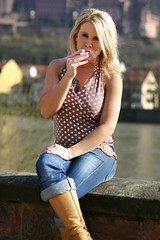Mandy 03 (The Booted Cat) Tags: woman sexy girl model boots cigarette smoking jeans blonde demin