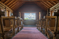 Chapel of the Transfiguration (redfishsuefish) Tags: mountains nationalpark chapel historic inside wyoming roomwithaview grandteton hdr grandtetonnationalpark chapelofthetransfiguration