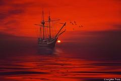 Sunrise by the keys.  (gusdiaz) Tags: reflection art photomanipulation photoshop mar amazing barco arte playa reflejo stunning diital vsco vscocam