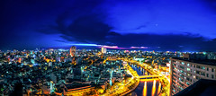 Night (Phn Chua) Tags: street city bridge light moon building skyline night clouds lights cityscape nightscape pentax vietnam saigon longexpose snor